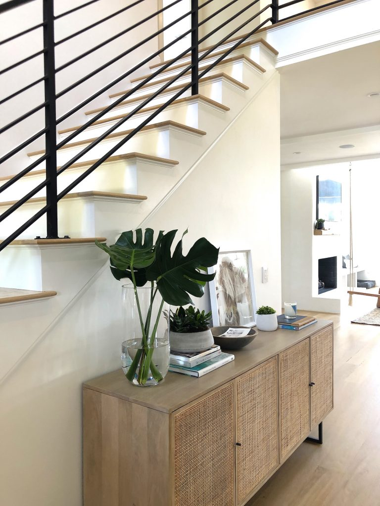 163 High Rd Newburyport Kitchen Tour 2019 Modern Black and White Entrance stairs LMM