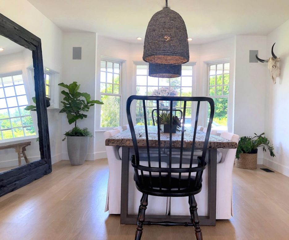 163 High Rd Newburyport Kitchen Tour 2019 Modern Black and White Dining Room 2 LMM