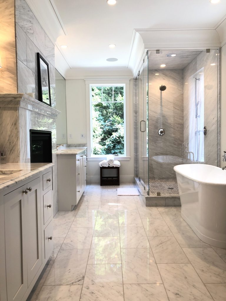 8 Wilshire Rd Newburyport Kitchen Tour 2019 Modern Black and White Master bathroom LMM