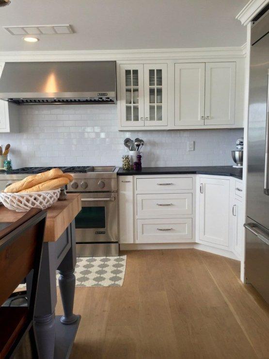 Newburyport Kitchen Tour 2015 white kitchen, wood counter, stainless range hood