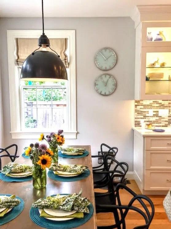 Newburyport Kitchen tour 2016 table with sunflowers