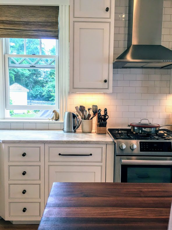 Newburyport Kitchen tour 2017 white kitchen wood counter top