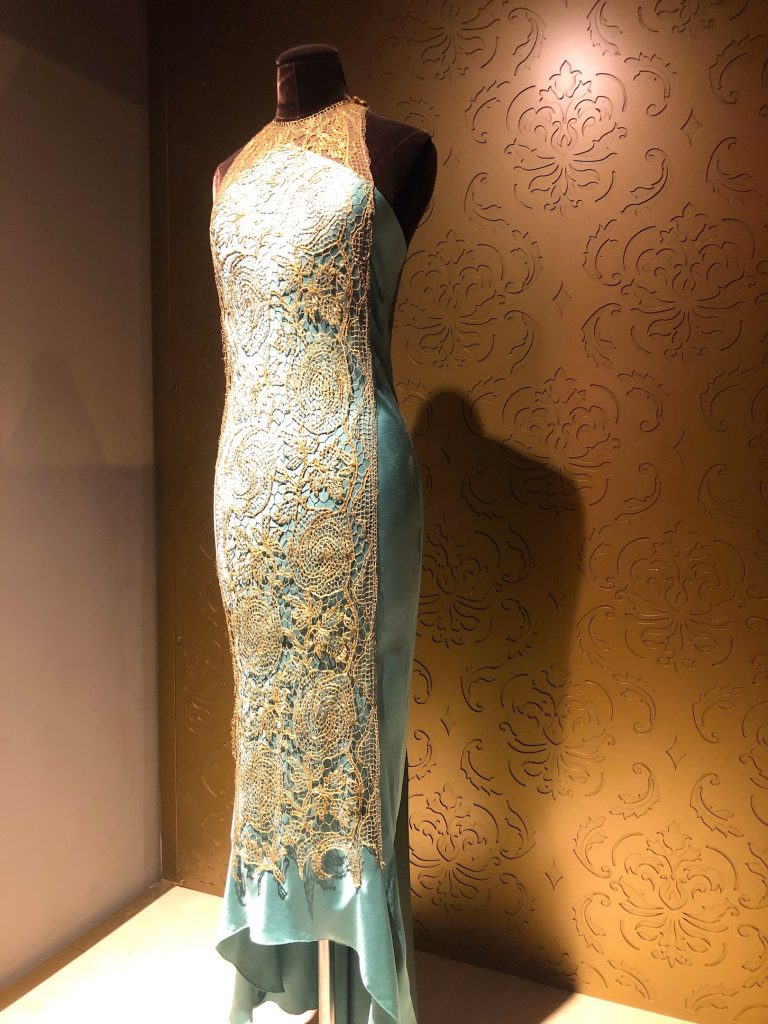 Lady Mary teal and gold overlay dress Downton Abbey Exhibition 73