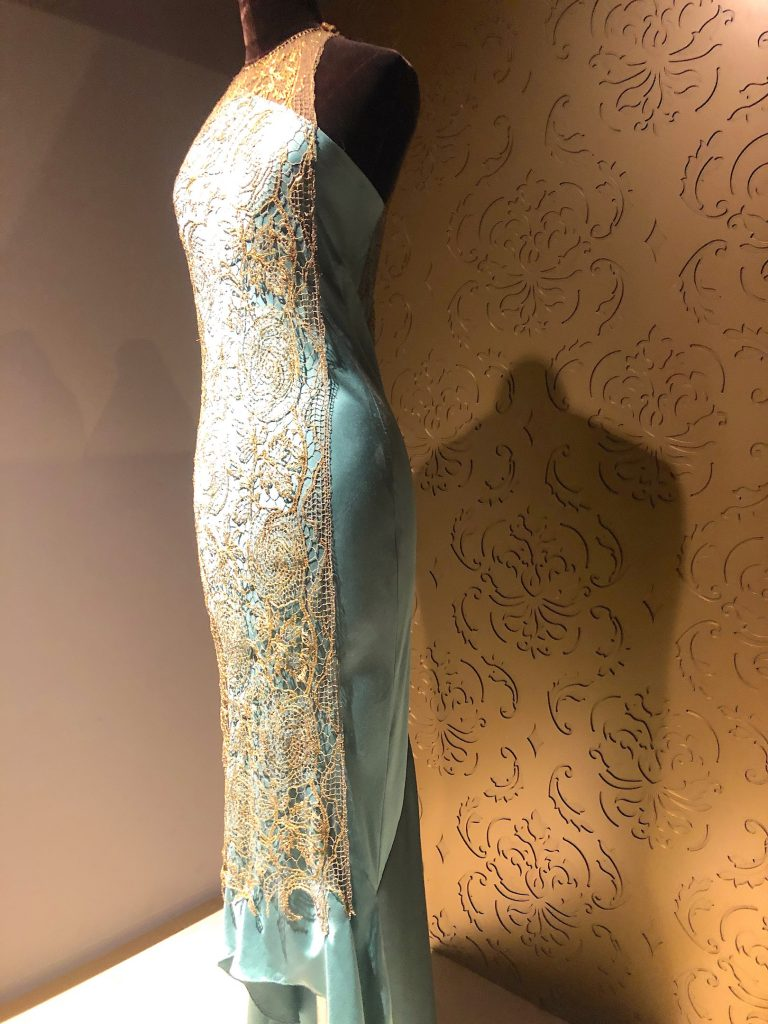 Lady Mary teal and gold overlay dress Downton Abbey Exhibition 7302