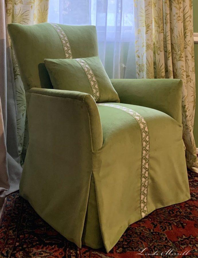 Linda Merrill reupholster an old chair JAB Tizian angled