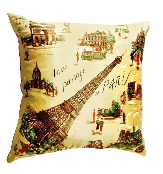 Vintage Paris satin scarf pillow Deborah Main The Pillow Goddess designer collections