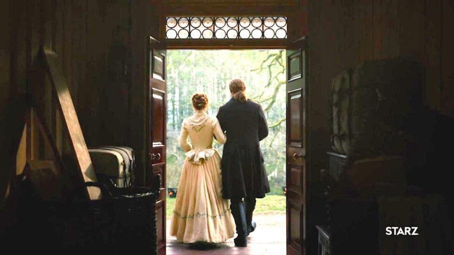 Starz Outlander the ridge interior of front door bullseye glass Bree Jamie wedding outlander-online Season 5