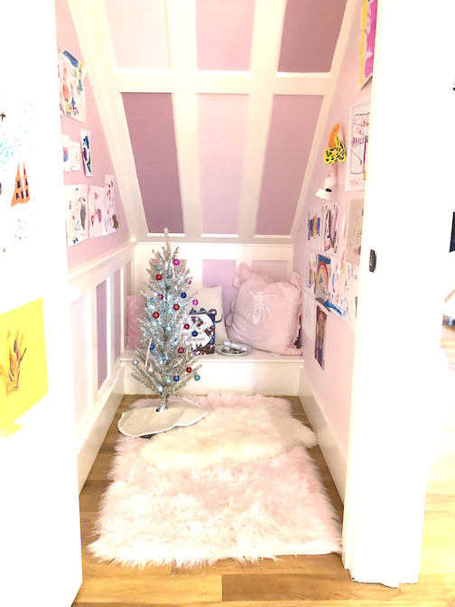 play-room-under-stairs-pink-purple-tinsel-tree-Newburyport-Christmas-decorating-house-tour-2018 zen corner