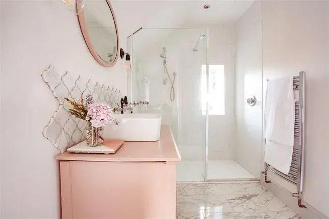 Rhydyclafdy, Pwllheli, Gwynedd Scandi New England bathroom pink vanity duravit sink tille wall
