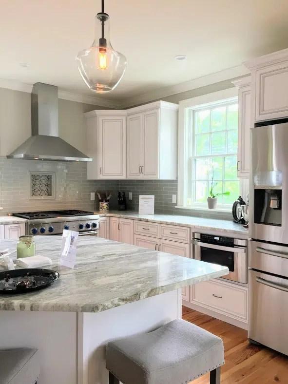 Kitchen Newburyport photo credit Linda Merrill pale gray green backsplash coastal colors