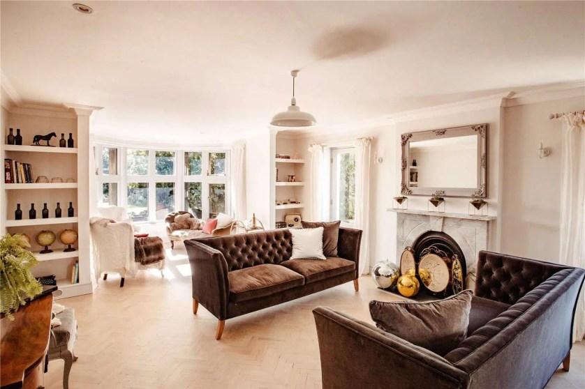 Rhydyclafdy, Pwllheli, Gwynedd Scandi New England Living room brown velvet sofas