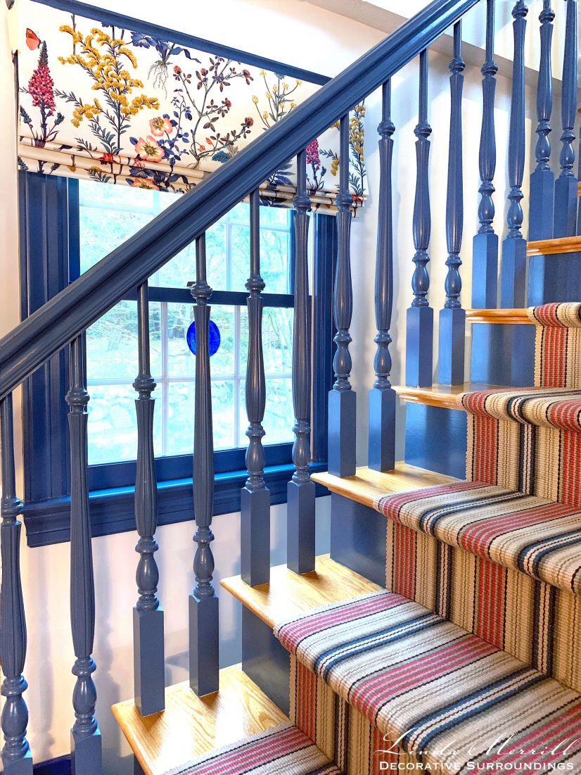 Linda Merrill Decorative Surroundings Cape Cod house colorful striped weave carpet window treatment
