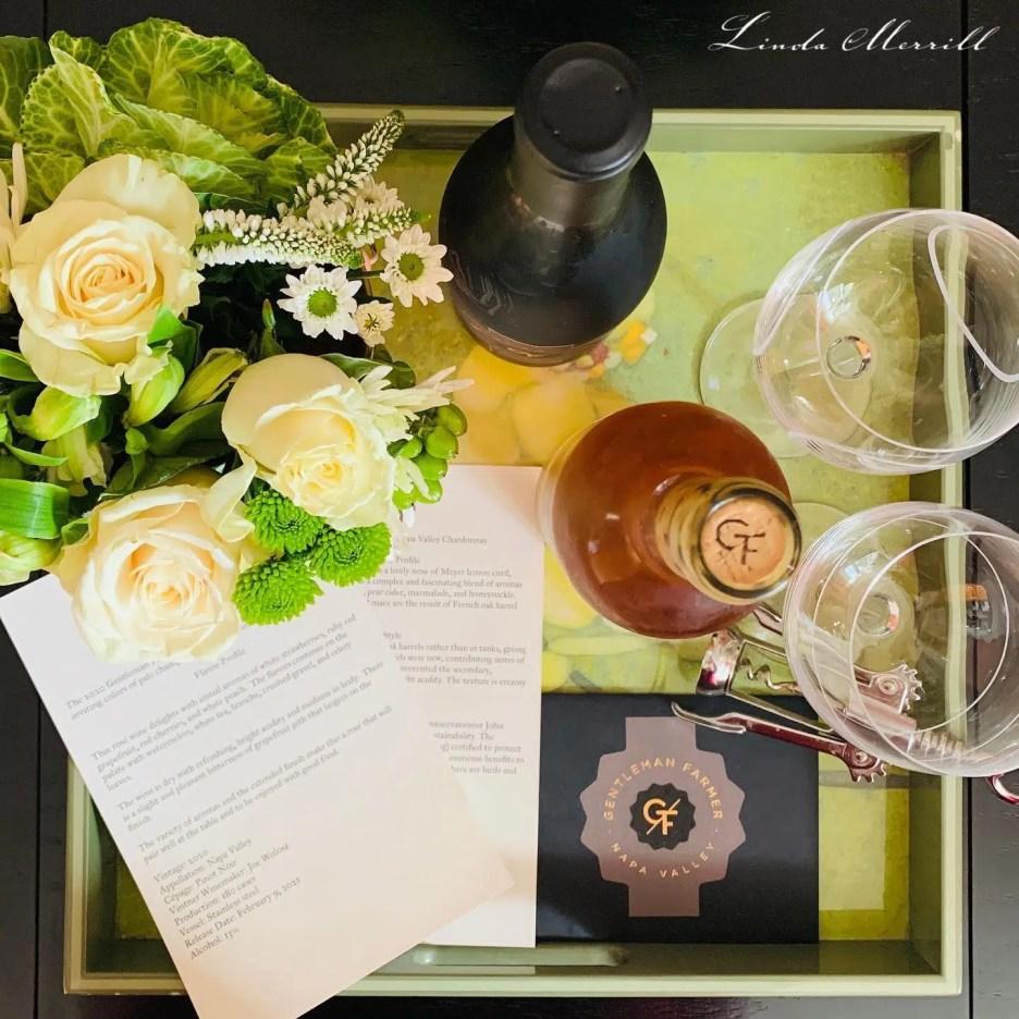 SKS Date Night Flat lay Gentleman Farmer wine on tray SKS Kitchen Suite
