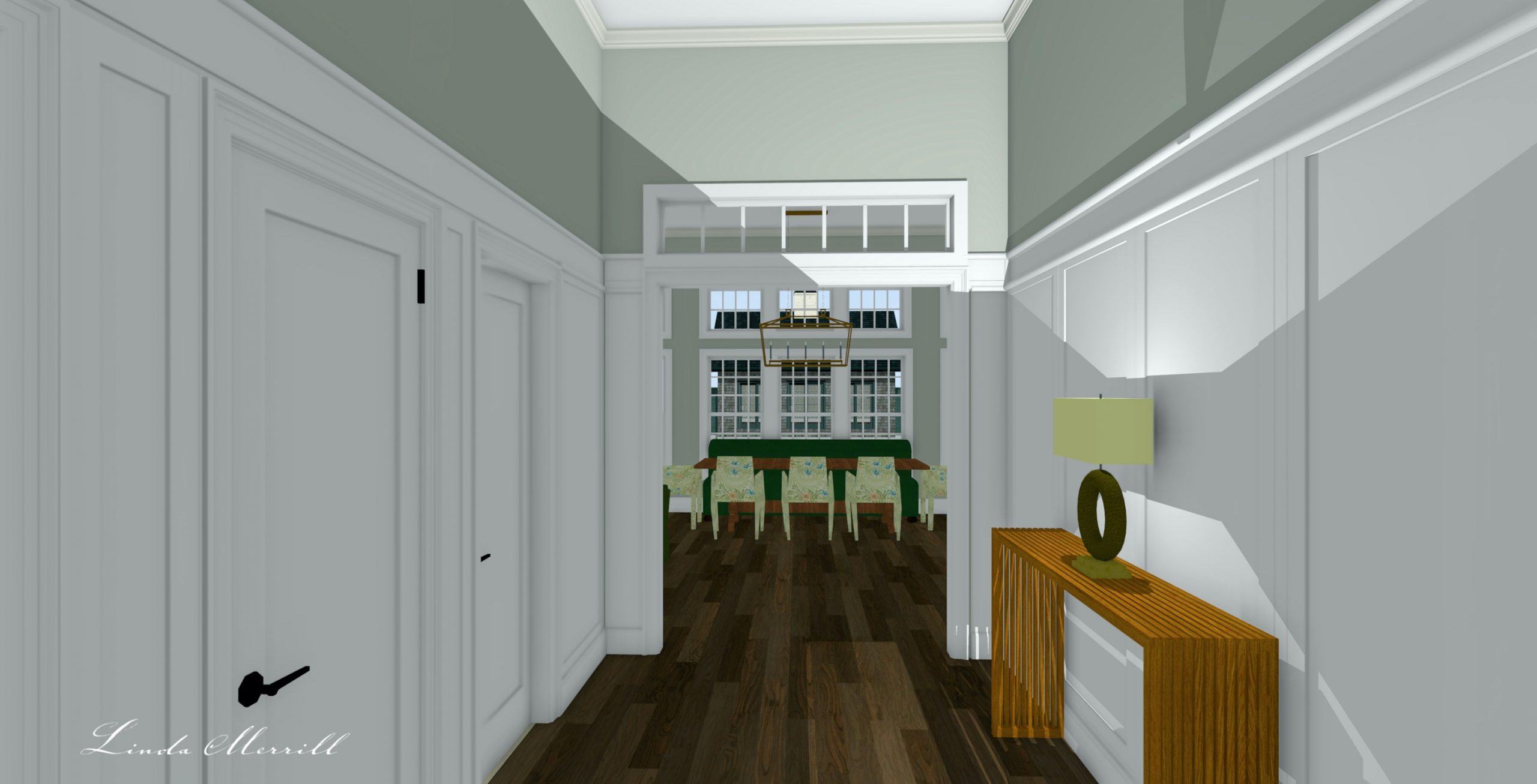 Linda Merrill Dream Home 2021 Front hall to back front entry millwork