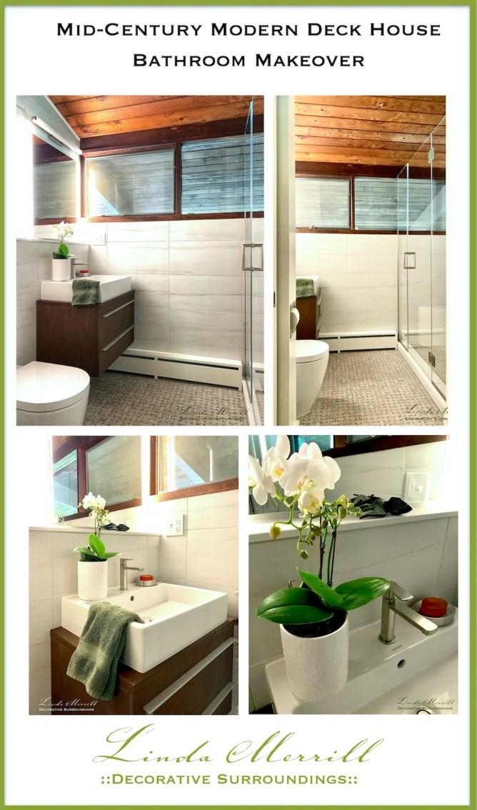 Mid Century modern deckhouse primary bathroom pinterest pin 2