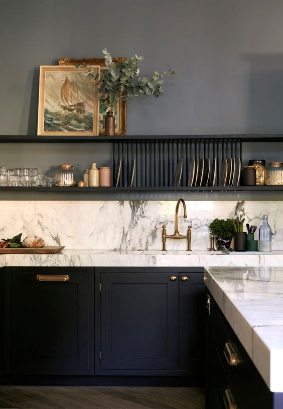 Farrow & Ball De Nimes blue soulful kitchen