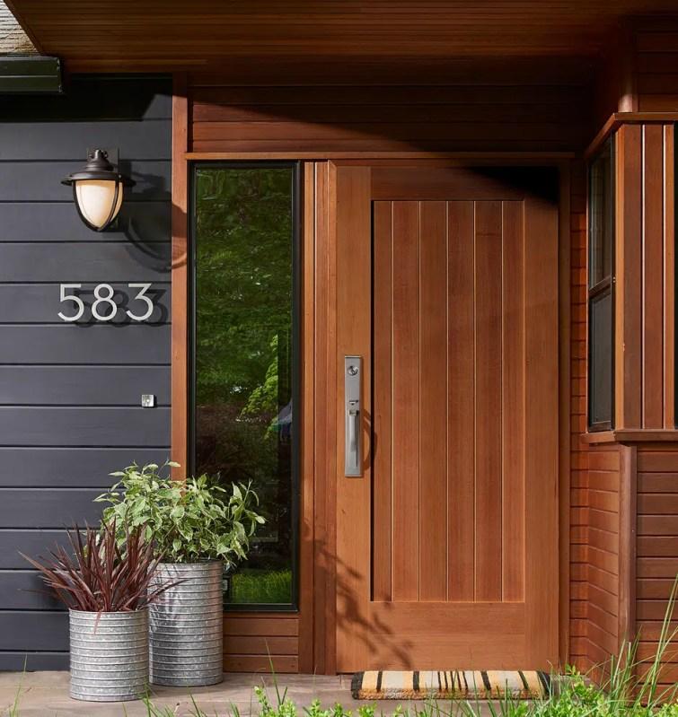 Rejuvenation black and wood house exterior