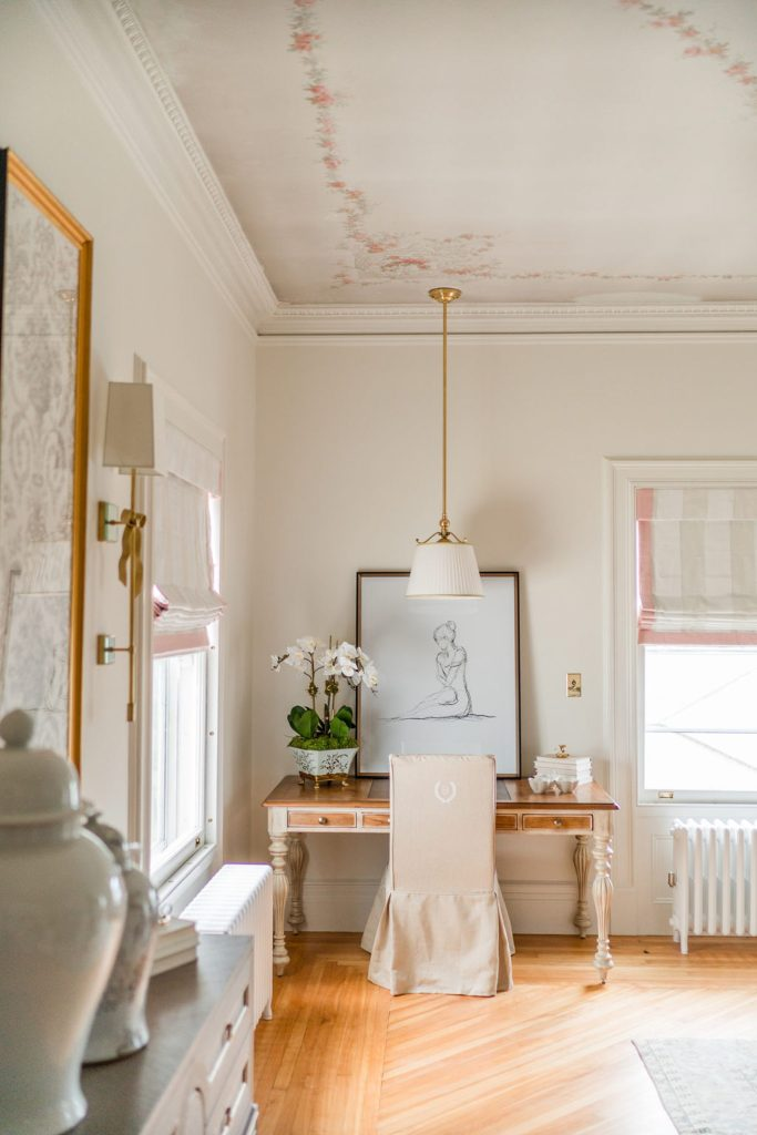 Photo by Rodeo and Co Burklynn Hall renovation bedroom floral ceiling 2