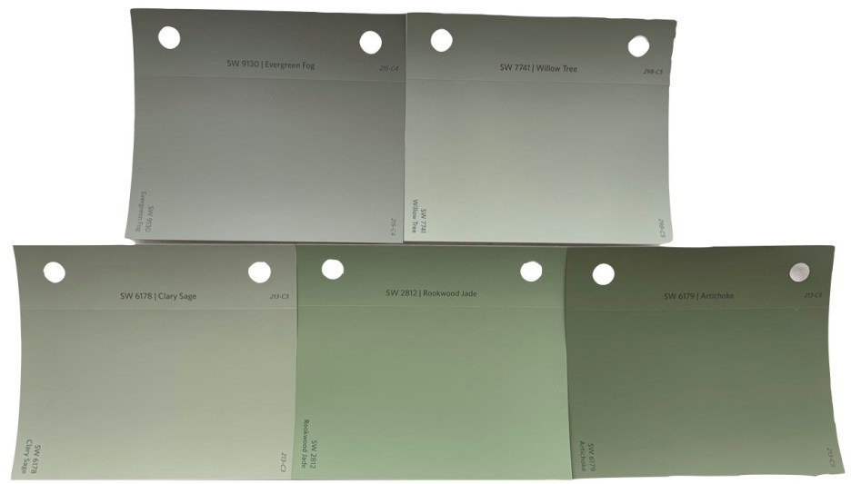 Sherwin Williams Evergreen Fog and other green paint chips