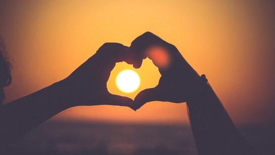 Handen als hart voor de zon