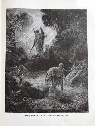 Foto van hoe Adam en Eva uit het paradijs gedreven werden. Uit het oude testament door H. Wolffenbuttel- van Rooyen. De ets is gemaakt door Gustave Dore