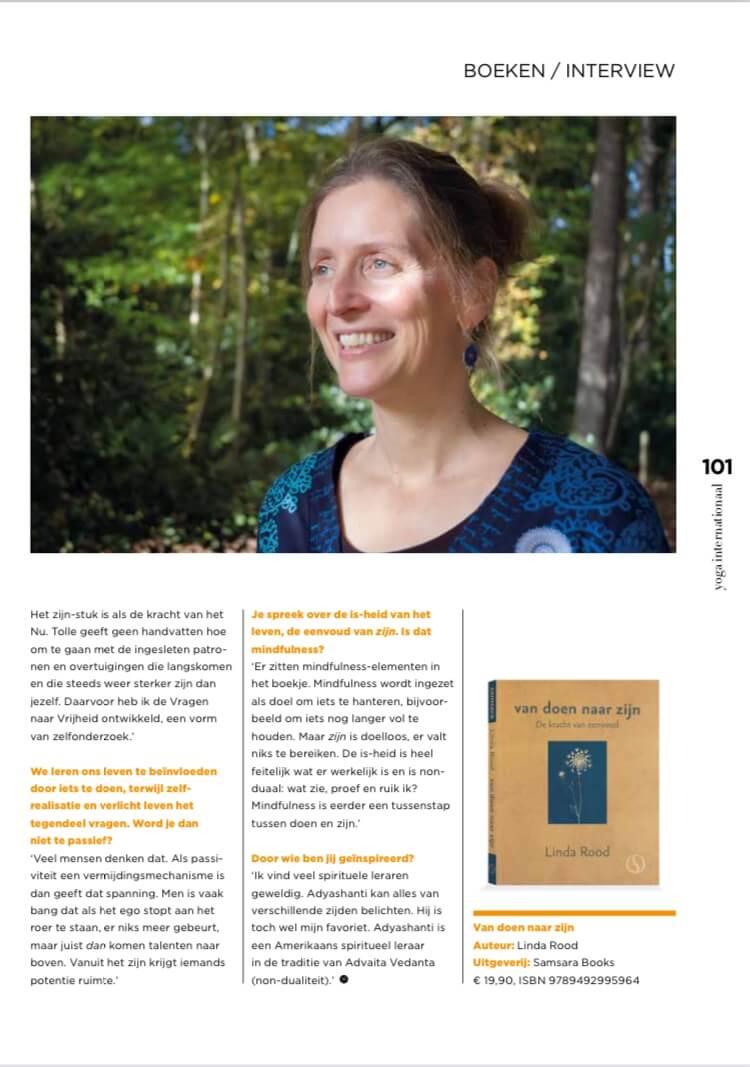 Interview met Linda Rood in de boekenrubriek van Marjan van Druenen in Yoga internationaal magazine
