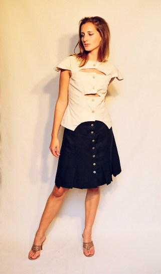 Peace silk slit top, silk pleated skirt