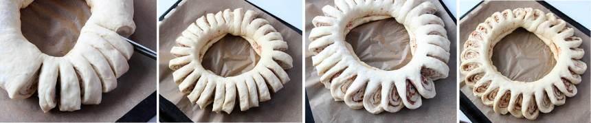 3. Klipp kransen i centimetertjocka skivor men spar 1–2 cm i innerkanten så att den sitter ihop. Dra försiktigt ut bitarna åt en sida så att de ligger lutade åt samma håll.
