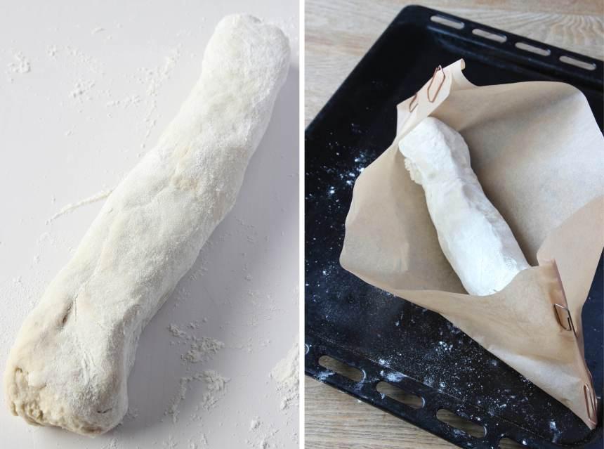 3. Forma degen till en limpa och rulla den i vetemjöl. Lägg limpan i bakplåtspappret och låt den jäsa under bakduk i ca 1–1 ½ tim. Sätt ugnen på 250 grader. Ställ in en ugnstålig skål med vatten i botten på ugnen så förblir degytan elastisk under de första minuterna under gräddningen. Det gör att brödet kan växa mer. När ytan har stelnat kan brödet inte expandera lika mycket.