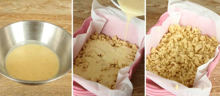 2. Rör ihop alla ingredienserna till fyllningen i en skål och häll ut smeten jämnt över smuldegen i formen. Smula över resten av degen.