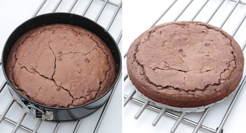 3. Grädda kakan i nedre delen av ugnen i 45 min. Låt den svalna i formen och ställ in den i kylen i några timmar före servering. Ät den som den är eller med en klick vispad grädde.