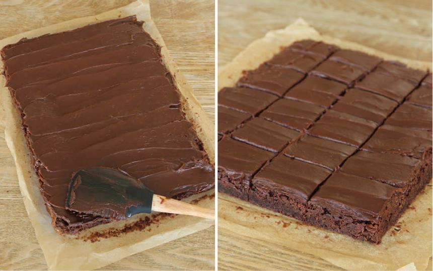 5. Bred ut tryffeln på kakan när den tjocknat blivit bredbar. Strö eventuellt över lite flingsalt. Skär kakan i rutor, ca 5 x 4 st.