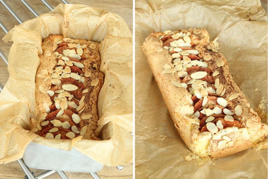 5. Grädda kakan mitt i ugnen i 35–40 min. Låt den svalna i formen och lyft sedan upp hela papperet med kakan ur formen. Servera vaniljsås till kakan. Förvara kakan invikt i bakplåtspapperet så behåller den sina lite segknapriga kanter.