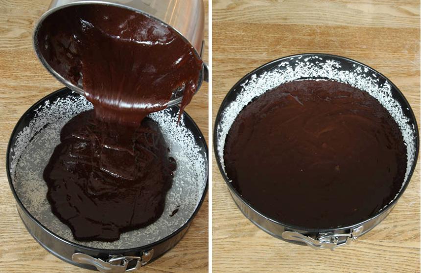 2. Häll smeten i formen i en smord och bröad form, 22–23 cm i diameter, med löstagbar kant.