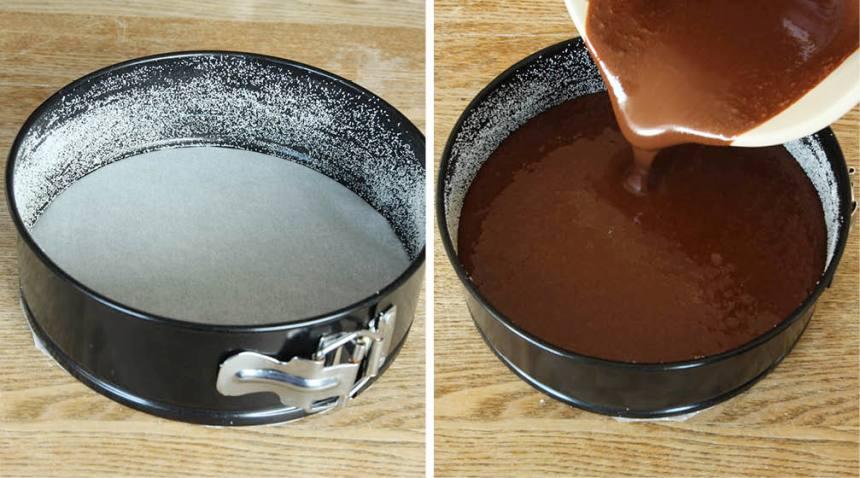 2. Häll smeten i en form, 18–20 cm i diameter, klädd med bakplåtspapper i botten och smorda och bröade kanter. Grädda kakan mitt i ugnen i 35–40 min. Låt den kallna helt i formen.