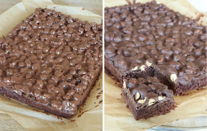 7. Bred ut chokladen på kakan och låt den stelna. Skär sedan kakan i rutor. Servera gärna med lättvispad grädde.