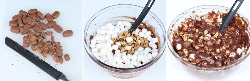2. Skär Dumlekolorna i småbitar och blanda ner dem, nötterna och marshmallows i chokladsmeten. Rör om försiktigt.
