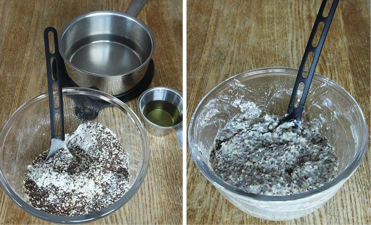 1. Sätt ugnen på 160 grader. Blanda alla torra ingredienser i en bunke. Tillsätt olja och vatten och rör ihop allt till en geléaktig smet.