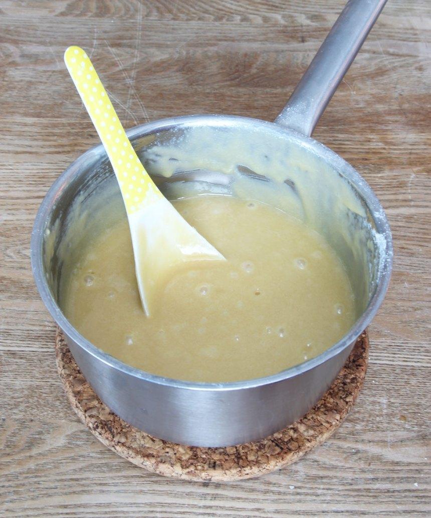 2. Tillsätt resten av ingredienserna i kastrullen och rör ihop allt till en slät smet.