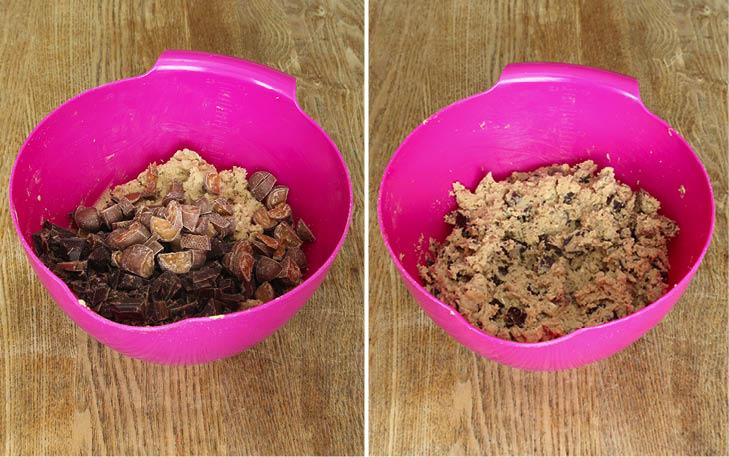 3. Blanda ner choklad och Dumlekola. Rör ihop allt till en smulig deg.