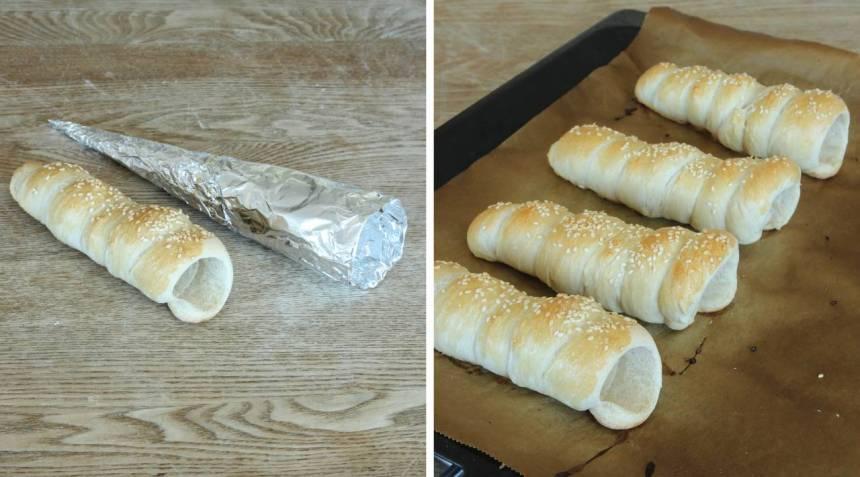 8. Ta loss bröden från strutarna. Fyll dem gärna med grönsaker, kyckling, skinka, keso eller en god röra. Bröden går bra att frysa in och ta fram till picknicken!