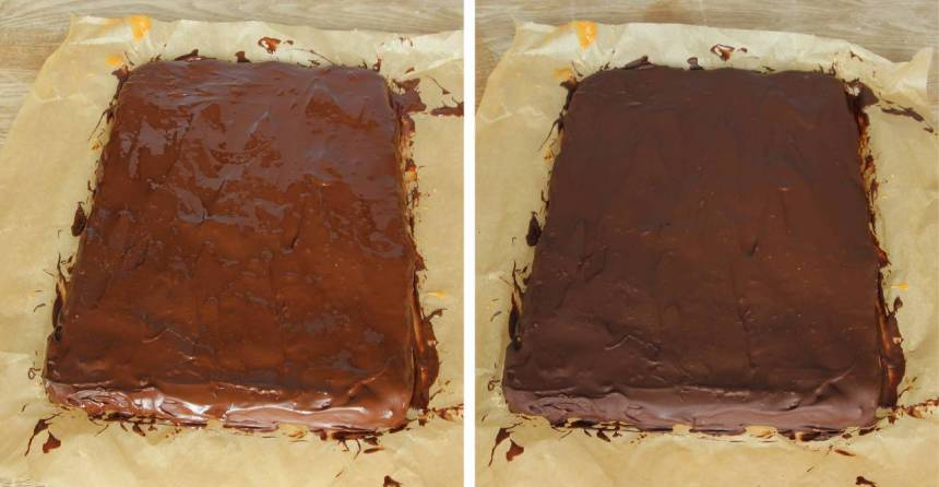 6. Bred ut den smälta chokladen på kolakrämen. Skär kakan i rutor när chokladen stelnat. Förvara kakorna på en inplastad tallrik i kylen.