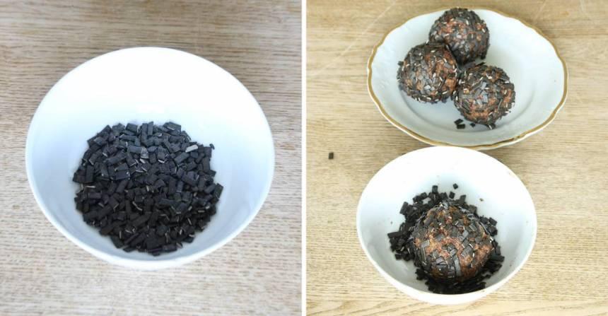 2. Gör bollar av degen och rulla dem i strösslet. Förvara bollarna i kylen.