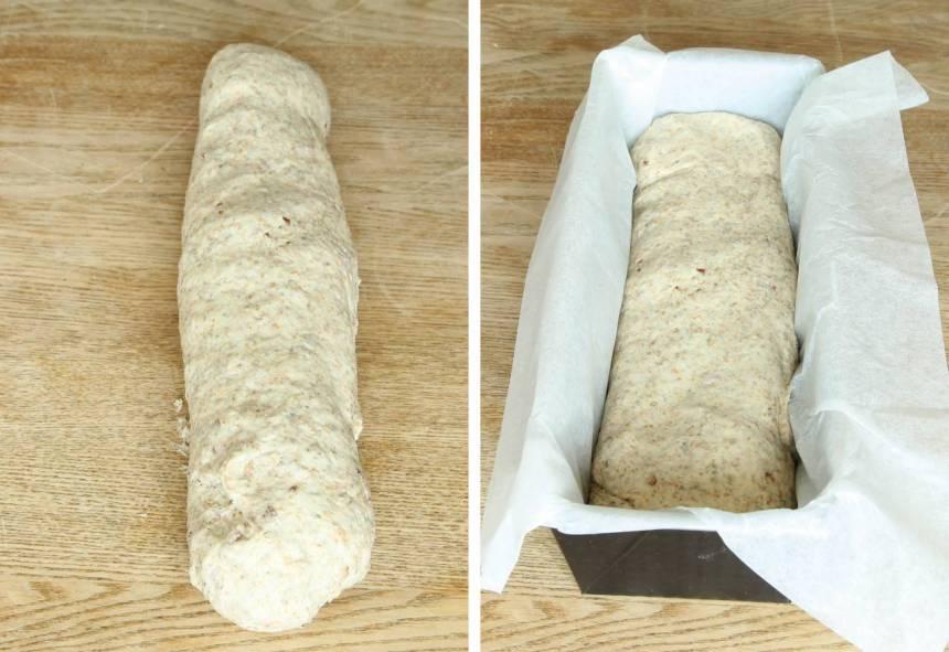 2. Forma degen till en limpa. Lägg den i en limpform, ca 1 ½ liter, klädd med bakplåtspapper.
