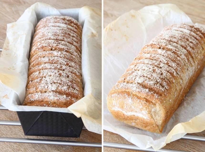 5. Grädda brödet längst ner i ugnen i 30–35 min. Sänk värmen till 225 grader när du sätter in brödet. Låt limpan svalna i formen.