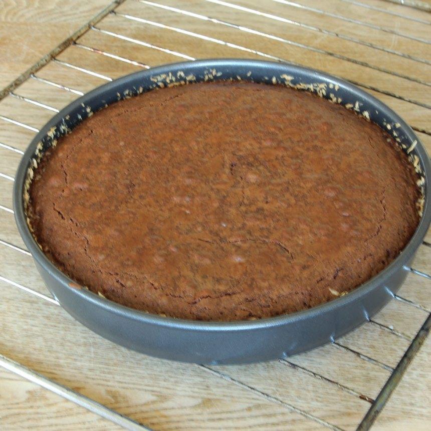 3. Grädda kakan mitt i ugnen i 22–30 min beroende på hur kladdig du vill ha den. Låt den kallna i formen. Bred ut Nutella på toppen och strö över kokos när den kallnat.