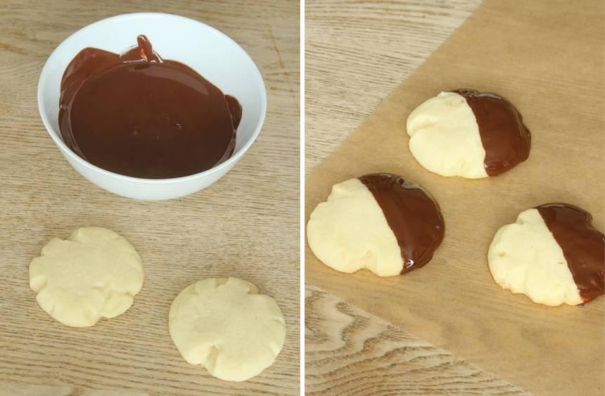 5. Doppa halva kakan i smält choklad. Lägg dem på ett bakplåtspapper och låt chokladen stelna (gärna i kylen). Förvara kakorna i en burk med tätslutande lock.