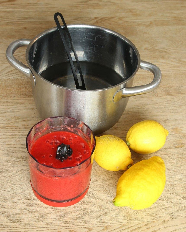 2. Blanda vatten, de mixade jordgubbarna och pressa ner citronsaft från citronerna. (Bestäm själv hur mycket citronsmak du vill ha, tillsätt lite i taget).