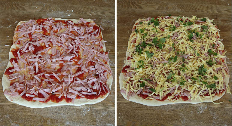 4. Strö ut skinka, ost och ev. färsk oregano på degplattorna.