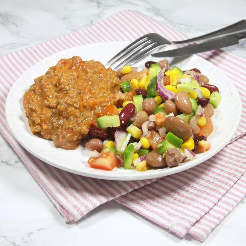 Lunch- & middagstips! Köttfärssås & bönsallad –ljuvligt gott och nyttigt.